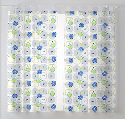 Martina Home Cebollas Pack de Cortinas Visillo para Cocina, Tela, Azul, 100 x 140 cm, 2 Unidades