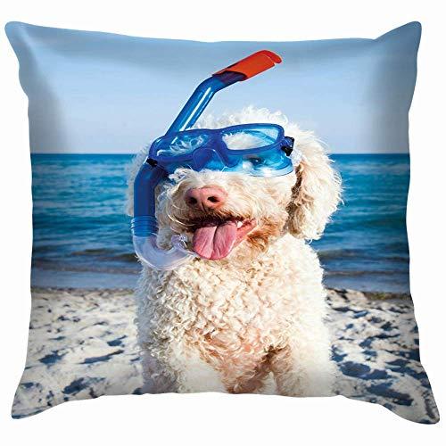 N\A Waterdog Italiano Playa Animales Fauna Perro Deportes Recreación Algodón Lino Hogar Decorativo Funda de Almohada Funda de cojín para sofá Sofá