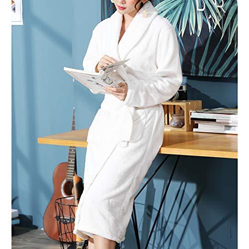 Uaussi Damen-Bademantel, lang, aus Fleece, leicht, weich, mit V-Ausschnitt, für Damen, Loungewear, Nachtwäsche, Schlafanzug