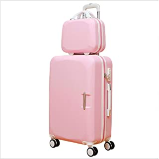 Trolley Case Travel Case, Large Capacity Suitcase, Portable Luggage, Pure Aluminum, Rotatable Pulley Travel Luggage Carry-Ons (Color : Pink, Size : 26)