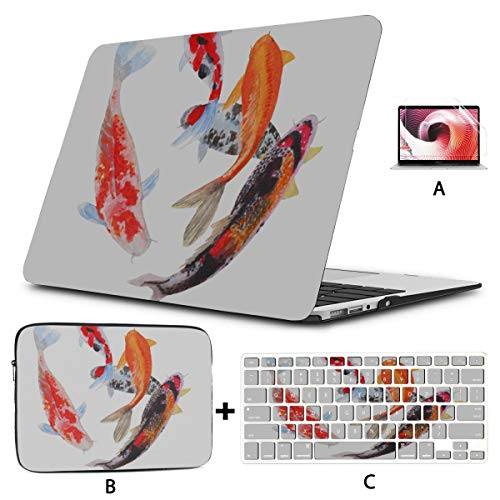 Case Macbook Air Chinese Golded Koi Fish A1707 Macbook Pro Case Hard Shell Mac Air 11'/13' Pro 13'/15'/16' With Notebook Sleeve Bag For Macbook 2008-2020 Version