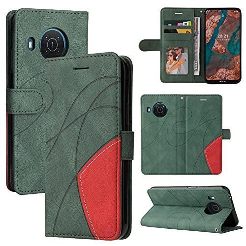ZHANGHUI Funda protectora para Nokia X20 de piel tipo cartera, ranura para tarjetas, funda para teléfono Nokia X20, cartera para hombre y mujer, a prueba de golpes, color verde
