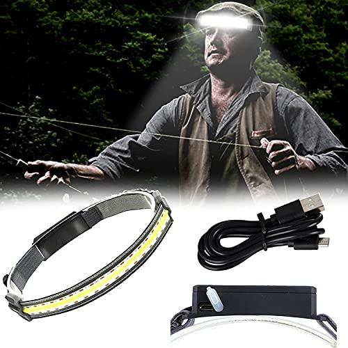 Diadema con luz de trabajo Hi-Beam, Mini faro de carga USB de luz suave COB, 3 modos de iluminación, IPX4 a prueba de agua, perfecto para trail running, camping y senderismo