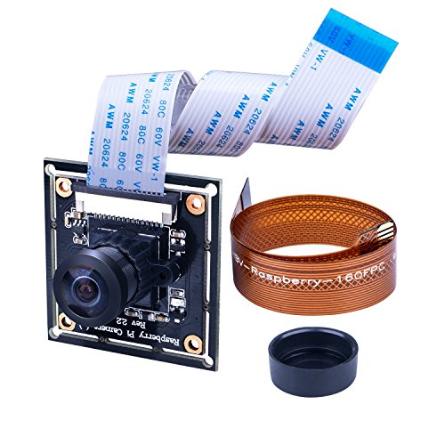 For Raspberry Pi 4 Camera Module Wide Angle 160° Fisheye Lens Longruner 5MP RPI Kamera Adjustable-Focus Module Drone Webcam with 16 Pin FPC Cable for Raspberry Pi B/B+/A+/4/3/2/1 LC20