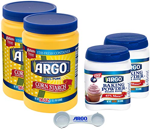 Argo Baking Bundle, 12 oz Baking Powder and 16 oz Corn Starch, 2 of each (Pack of 4) with Argo Measuring Spoon