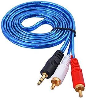eDealMax 3,5 mm Macho a 2 RCA Macho Audio Cable de extensión estéreo Azul