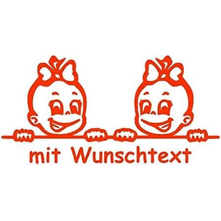 Babyaufkleber Autoaufkleber Für Zwillinge Mit Wunschtext Motiv Z20 Mm 16 Cm Baby