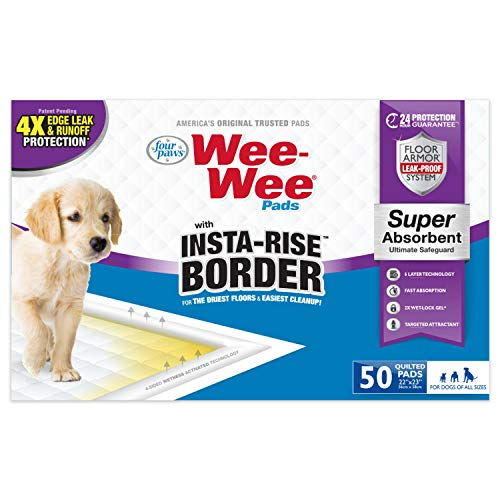 Four Paws Wee-Wee Puppy Training Insta-Rise Border Pee Pads 50-Count 22' x 23' Standard Size