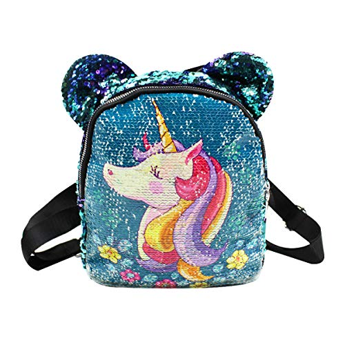 Amamcy Sequins Backpack with Mouse Ears Purse Cartoon Shoulder Bag Satchel for Women Girls Kids