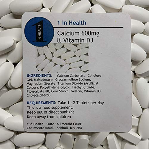 Calcium 600mg and Vitamin D3 Tablets - Good for Healthy Bones & Teeth - Grip Sealed & Healthy Fresh - Fast & Free Same Day Dispatch
