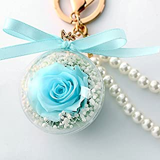 Bow-Knot Keychains Novelty Preserved Fresh Flower Rose Key Chain for Womens Bag or Car Pendant (Tiffany Blue)