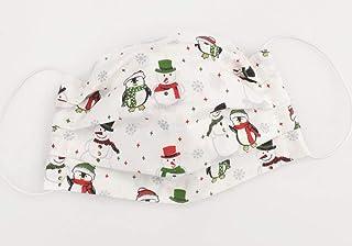 Maske - Schneemann & Pinguin Weiß - Weihnachts-Edition - Baumwolle