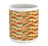 N\A Tazza Orientale, Pesci Koi Giapponesi Che nuotano con Fiori di Loto Motivo Yoga Boho, Tazza da caffè in Ceramica per Bevande al tè, 11 oz, Verde Abbronzatura