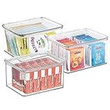 mDesign Caja organizadora apilable cajonera plástico con Tapa para frigorífico o para el Orden de su hogar - Transparente