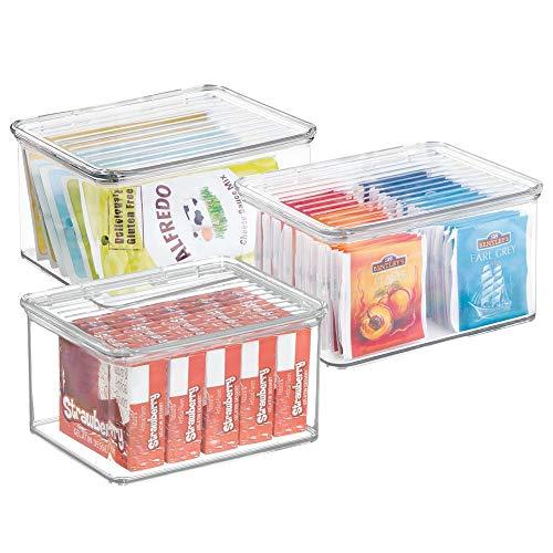 mDesign Set da 3 contenitori plastica impilabili ? Accessori Cucina Perfetti Come contenitori per Alimenti ? Ideali Anche in frigo o congelatore ? con Coperchio ? Colore: Trasparente