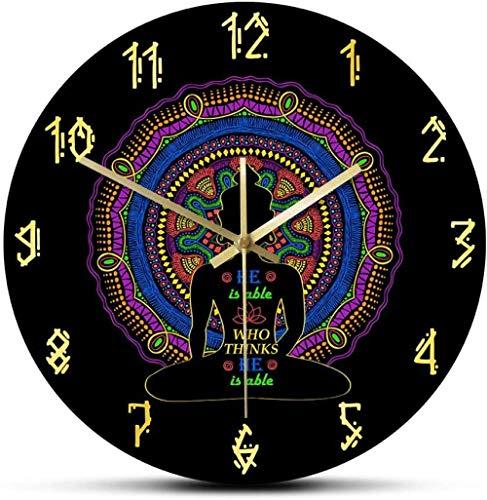 Relojes De Pared Él Es Capaz De Pensar Que Es Capaz De La Silueta De Buda Diseño De Mandala Reloj De Pared Estudio De Yoga Decoración De Arte Zen Reloj De Pared Silencioso Colgante-30X30Cm