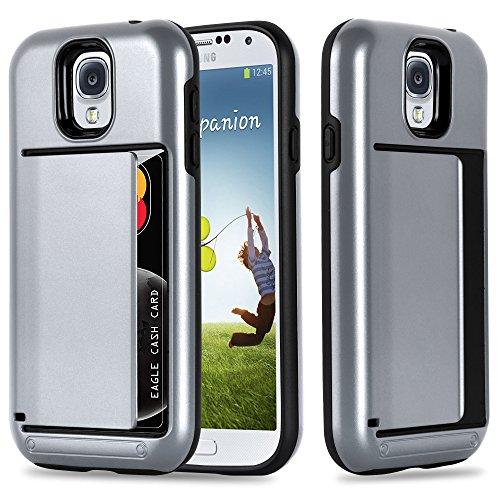 Preisvergleich Produktbild Cadorabo Hülle für Samsung Galaxy S4 - Hülle in Armor Silber Handyhülle mit Kartenfach - Hard Case TPU Silikon Schutzhülle für Hybrid Cover im Outdoor Heavy Duty Design