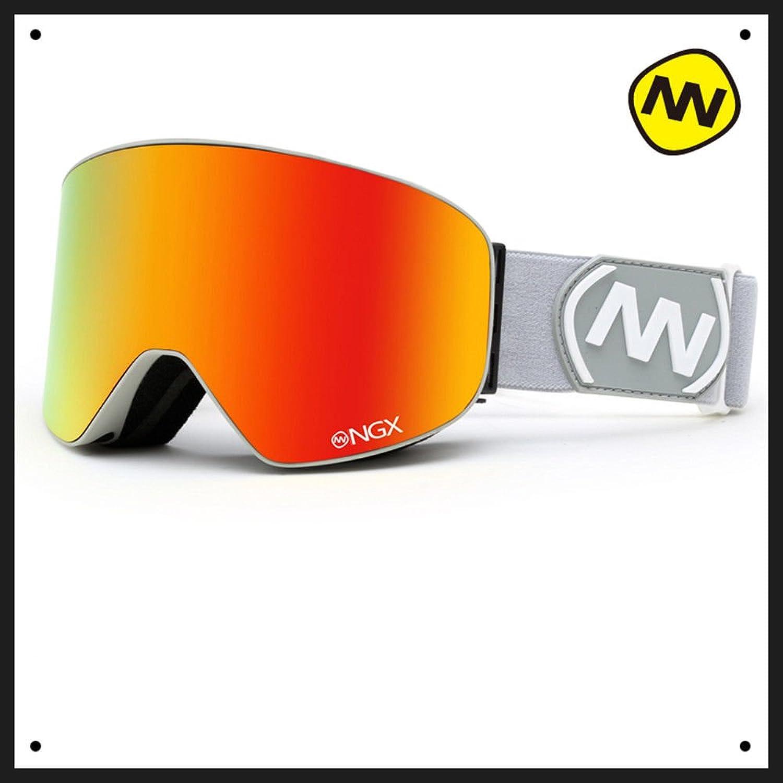 Lhjy Nandn Ski Goggles Double Layer Anti Fog Large Cylindrical Ski Equipped Single Board Anti Myopia Snow Ski G