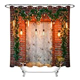 Backsteinmauer Weihnachtsdekoration Girlande Duschvorhang für Badezimmer,wasserdichtes & schnelltrocknendes Polyester,hochauflösendes Muster,12Haken,180X180cm,Heimtextilien
