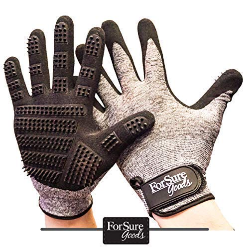 ForSure Goods Newest Design Pet Grooming Glove - Dog Grooming Glove - Deshedding - Bathing Glove -Dog Brush - Cat Brush - Horse Brush Pet Hair Remover- Hair Remover - Grooming Mitt