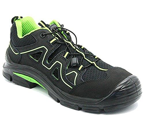 Arbeitsschuhe Sicherheitsschuhe Schuhe RALLOX 576 Größe 43 Sandalen Sicherheitssandalen S1 P Herren Damen schwarz neon grün vglb. Stahlkappe