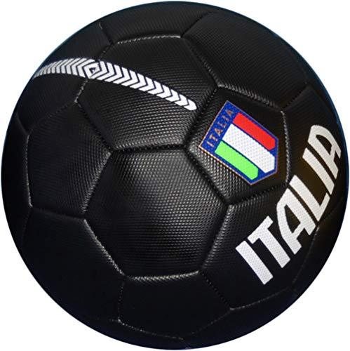 Pallone da Calcio Italia con Stemma della Federazione Italiana Giuoco Calcio - Opaco - Taglia 5 – Idea Regalo (Nero)