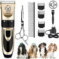Perro máquinas de cortar pelo, eléctrico gato perro esquiladora recortador Kit con 4 peine/Tijeras/acero inoxidable pelo peine, inalámbrica mascotas Cortapelos para animales con Silencioso