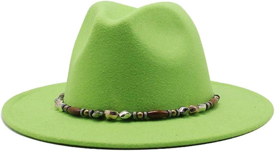 no-branded Winter Panama Straw Hat Ladies Elegant Felt Hat Cotton Men Retro Trilby Hat Wide Brim Fedora Hat Fedora Hat ZRZZUS (Color : Green, Size : 59-61cm)