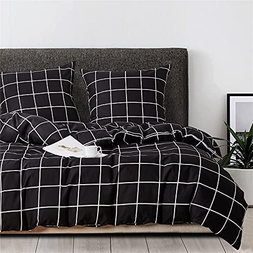 Boqingzhu Ropa de cama de 155 x 220 cm, diseño a cuadros, color blanco y negro, funda nórdica de microfibra y 2 fundas de almohada de 80 x 80 cm con cremallera