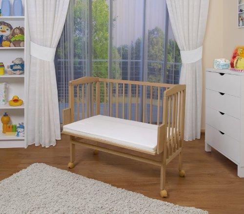 WALDIN Baby Beistellbett mit Matratze, höhen-verstellbar, Holz natur unbehandelt,Große Liegefläche 90x55cm