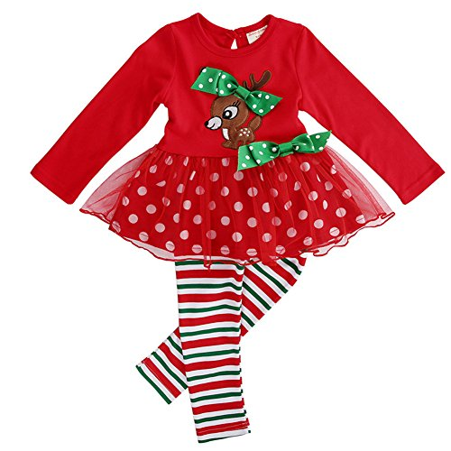 Christmas Outfits for Baby Girls Tutu Dress Tshirt with Striped Pant Clothing Set (5-6 Year, Reindeer)