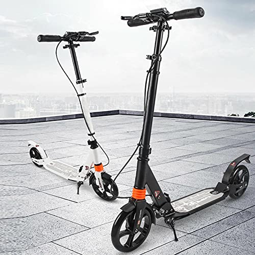 Patinete plegable City Roller Big Wheel para adultos con freno de disco de hasta 120 kg, altura regulable (negro)
