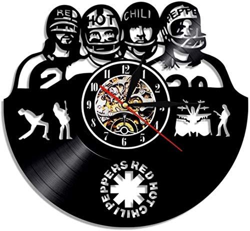 CJK Reloj de Pared de Vinilo Schallplattenuhr Upcycling Red Hot Chili Peppers Pared del Reloj 3D del diseño del Arte de Regalo habitación decoración de la Familia de la Vendimia, 30 cm de.
