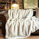 BATTILO HOME Luxury Fox Faux Fur Warm Elegant Cozy Throw Decorative Blanket Thick Warm Reversible to Plush Velvet Bed Sofa Blanket, 51'x67'