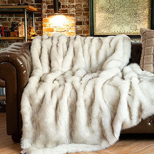 BATTILO HOME White Faux Fur Throw Blankets 150x200cm Luxury Decorative...