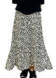 nunonette プリーツレオパードスカート ヒョウ柄スカート オオキイサイズ 韓国 ファッション ゆったり (アイボリー L)