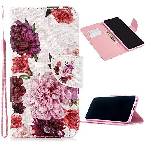 Miagon Full Body Cover Hülle für iPhone XS Max,Bunt Muster Design PU Leder Handyhülle Klapphülle Schutzhülle mit Karten Steckfächern Standfunktion,Pfingstrose Blume
