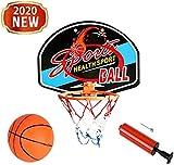 MUANSER Mini Wall Basketball Goal Backboard Rim Indoor Toys Set para Piscina, montado en la Pared con Red de Pelota y Bomba Portátil de Interior al Aire Libre para niños,E