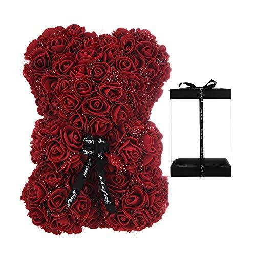 AZXU Rosenbär - Blumenbär Perfekt für Jubiläumsmütter, Rosenteddybär. - Klare Geschenkbox inklusive! 10 Zoll (Wine red, 10in)