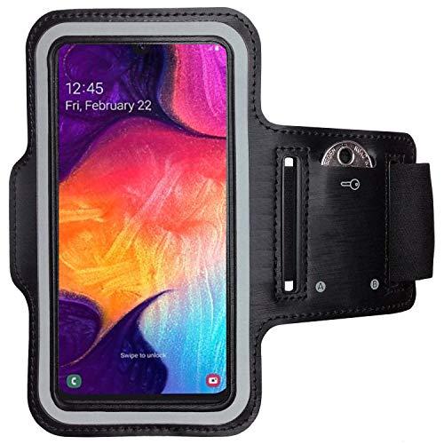 CoverKingz Armtasche für Samsung Galaxy A50 Sportarmband mit Schlüsselfach, Laufarmband, Sport Handyhülle, Handy Armband Schwarz