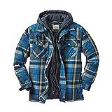 Mine Tom Camisa Térmica Hombre Camisa Franela Chaqueta Invierno Forro Protector Camisa Leñador Camisa Trabajo Cordón con Capucha A Azul M