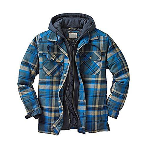 cappotto uomo a quadri Minetom Camicia da Uomo in Stile Casual da Boscaiolo Plaid Flanella A Quadri Camicia Imbottita da Lavoro di Cotone Cappotto Invernale A Blu M