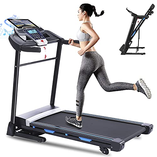 ANCHEER Folding Treadmill, 3.25HP Electric Motorized Automatic Incline Running Machine for Home Gym, 17'' Wide Tread Belt, Free App Control (Black)