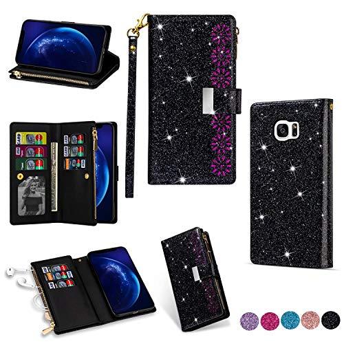 Miagon Reißverschluss Brieftasche Glitzer Hülle für Samsung Galaxy S7,Flip Handytasche mit 9 Kartenfächer Handschlaufe PU Leder Magnet Bling Multifunktions,Schwarz