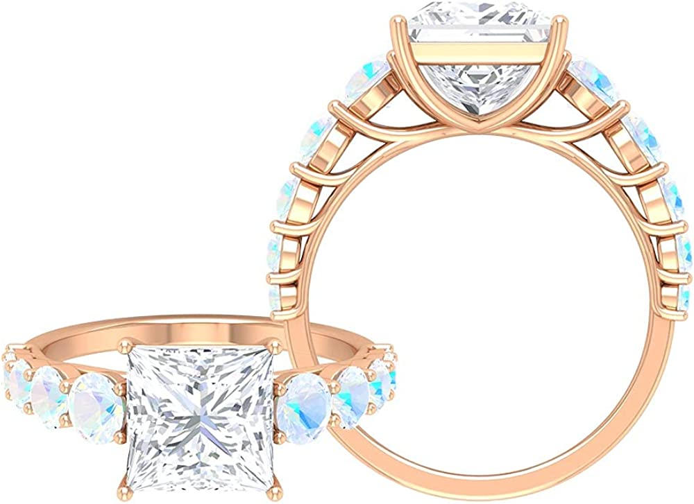 4 Discount mail order CT Moissanite and Created 1 Engagement Moonstone Ring 40% OFF Cheap Sale Rainbow