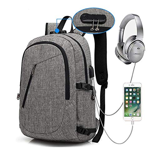 Suytan Anti-Theft Laptop Backpack,Computer Bag,Anti Theft Water Resistant College School Bookbag,Backpack W/USB Charging Port Fits up To15.6 inch Laptop Notebook,Gray,Grey
