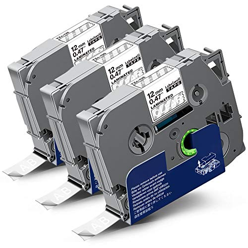 3x Labelwell 0.47 12mm x 8m Compatibile Nastri per Etichette Sostituzione per Brother TZC Tze-135 Tze135 Tz135 Bianco su Transparent per Brother P-Touch GL-H100 PTH100LB H101C P700 E100 D600VP D400VP