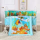 Wowelife Blue Crib Bedding Sets for Boys 100% Cotton 7-Piece Fish Nursery Bedding(Sea World-7 Piece)