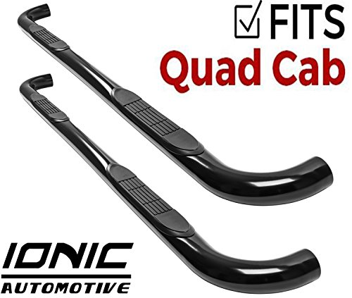 "Ionic 3"" Black (fits) 1994-2001 Dodge Ram Quad Cab Only Nerf Bars Side Steps (220210)"