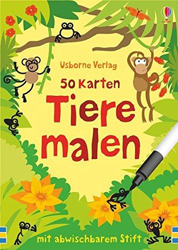 50 Karten: Tiere malen: mit abwischbarem Stift